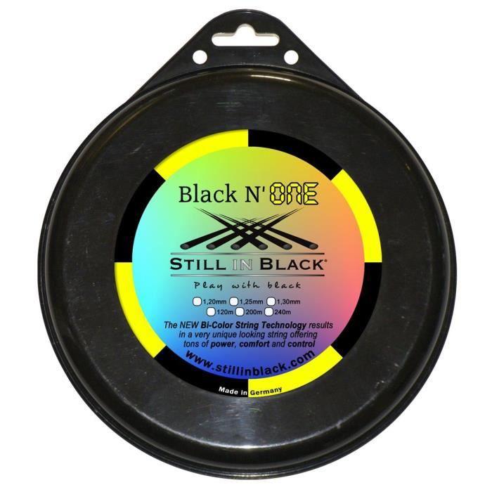 Still in Black M Bno Cordage pour Raquette de Tennis Mixte Adulte, Noir-Jaune