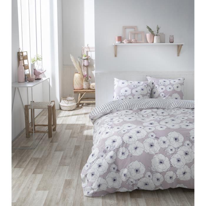 TODAY Parure de couette Sunshine #1.41 - 100% Coton - 220 x 240 cm - Rose et blanc