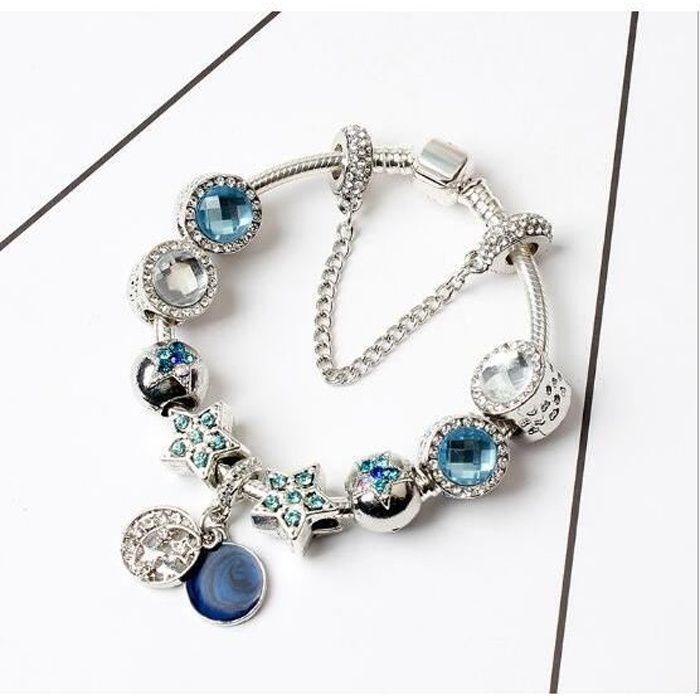 18CM Bleu Charms Bracelet Pandora Style bijoux Fem