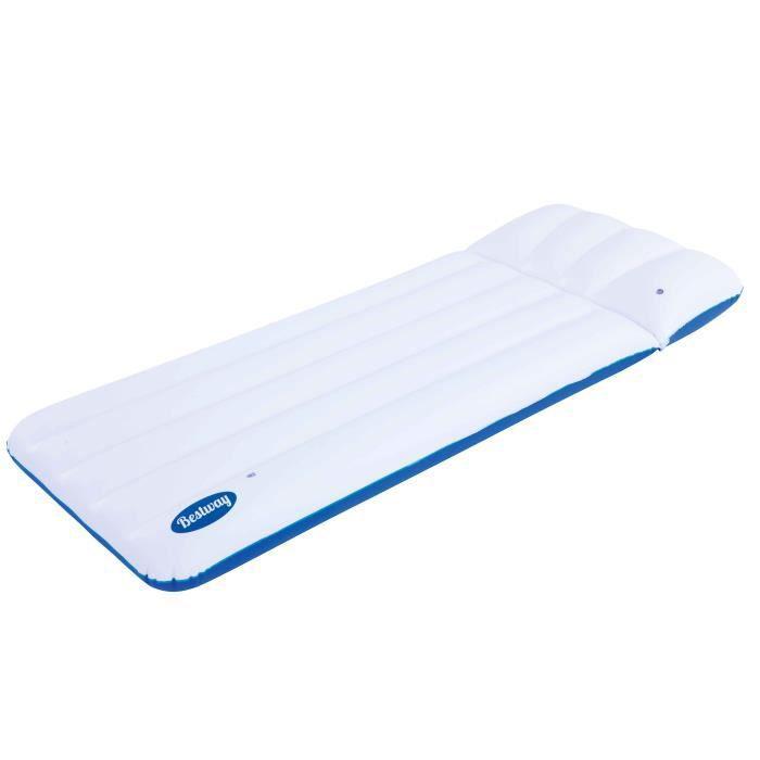 Matelas Gonflable Luxe 1 Place Bestway Dimensions 183 X 071 M Coloris Blanc Et Bleu