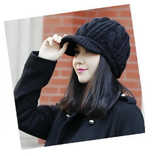 Femmes Beret Chapeau d\u0027hiver Chaud Bonnet tricot casquettes tricotées noir