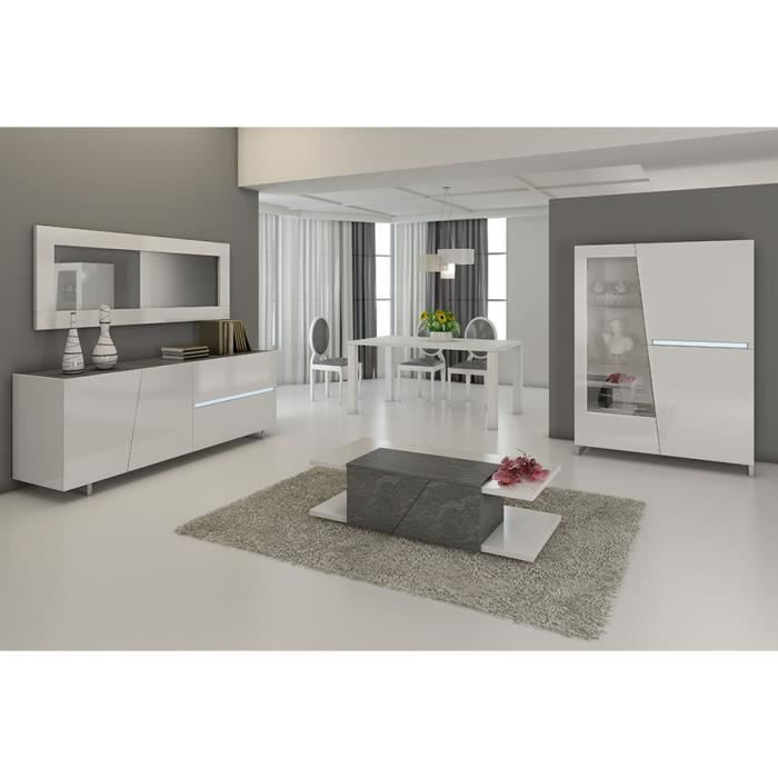 Salle manger compl te blanc laqu d cor ardoise design for Achat salle a manger complete