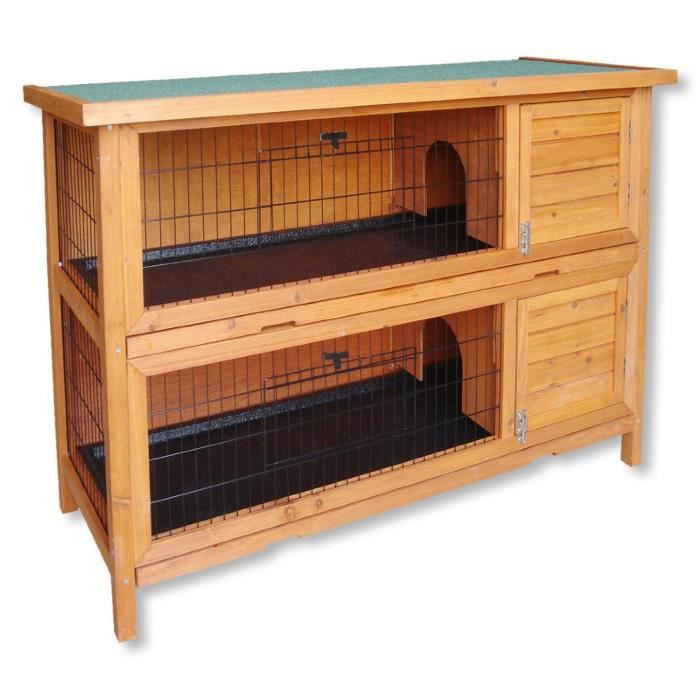 clapier double cage lapin en bois cabane pour lapin ou rongeur achat vente clapier. Black Bedroom Furniture Sets. Home Design Ideas