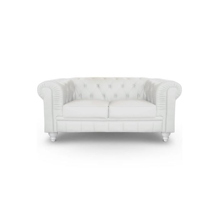 Canap chesterfield 2 places cuir blanc achat vente for Canape chesterfield cuir blanc