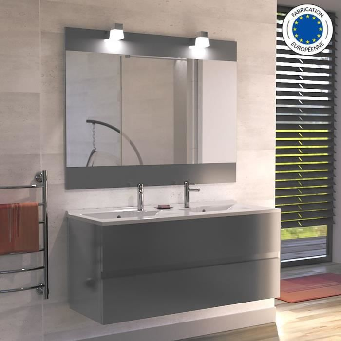 Meuble Salle De Bain Simple Vasque Rosaly 120 Gris Brillant 120