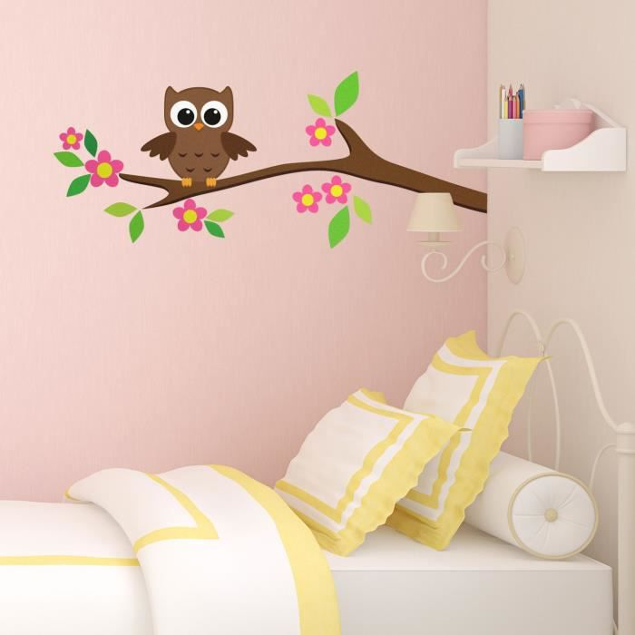 chouette sur une branche d 39 arbre stickers muraux achat. Black Bedroom Furniture Sets. Home Design Ideas