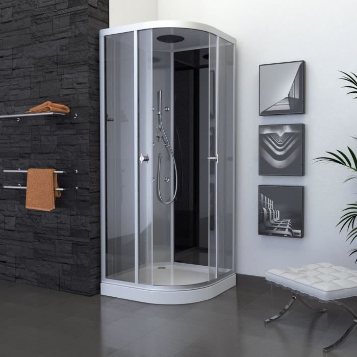 aurlane cabine de douche colors black round 90x90cm. Black Bedroom Furniture Sets. Home Design Ideas
