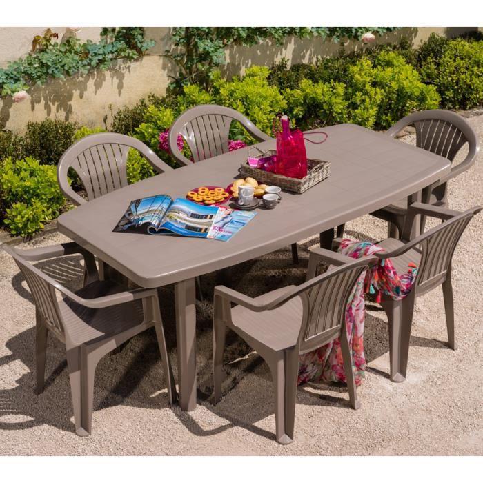 Salon de jardin: Table OCEAN + 6 fauteuils coloris taupe