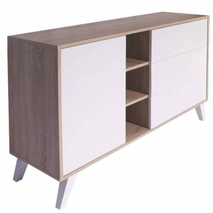 buffet design scandinave prism 1 porte 3 tiroirs blanc. Black Bedroom Furniture Sets. Home Design Ideas