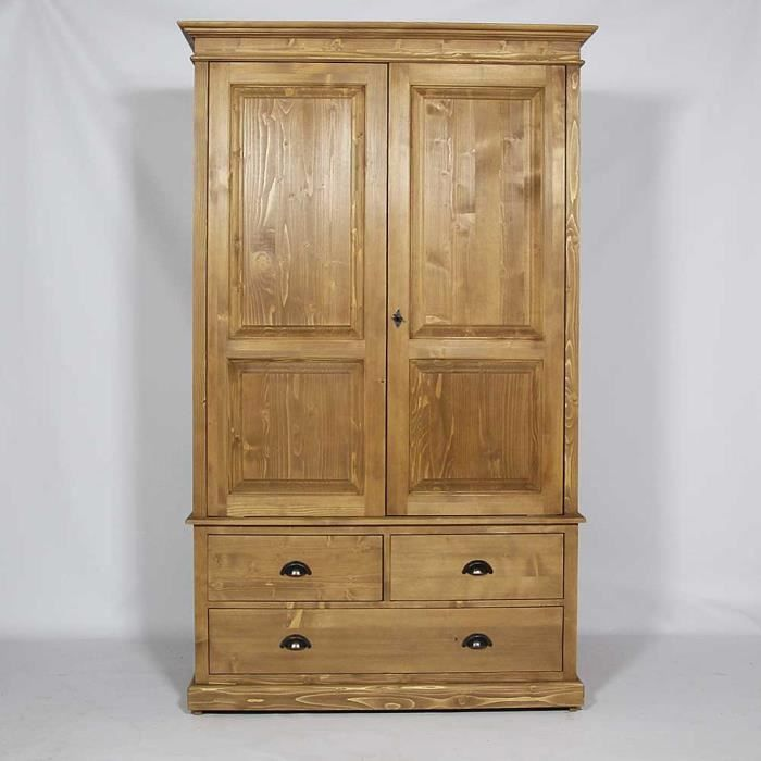 armoire 2 portes en pin massif cir miel bois achat. Black Bedroom Furniture Sets. Home Design Ideas