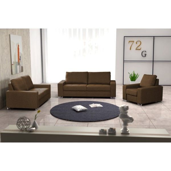 ensemble de 2 canap s fauteuil coffee marron achat vente ensemble canapes cdiscount. Black Bedroom Furniture Sets. Home Design Ideas