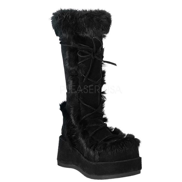 Demonia CUBBY-311 2 3/4 Goth GoGo Blk Imitation Suede-Rabbit Fur Knee Boot