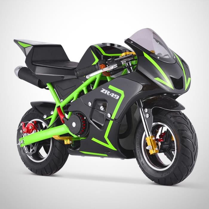pocket course zr 49 mini moto enfant 50cc vert achat. Black Bedroom Furniture Sets. Home Design Ideas