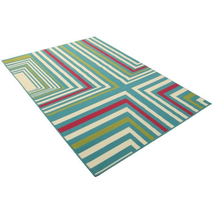 Tapis salon contemporain ligne turquoise universol achat for Tapis salon contemporain