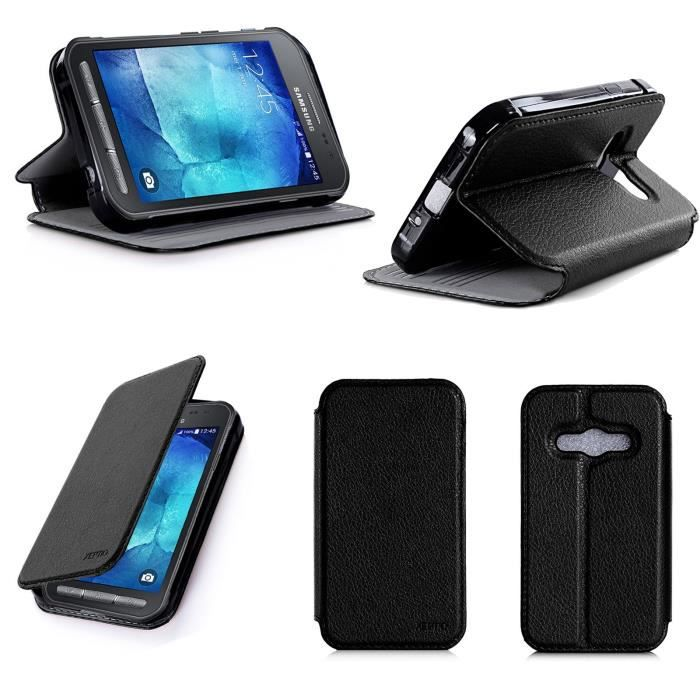 Etui coque samsung galaxy xcover 3 noir housse pochette for Housse xcover 4