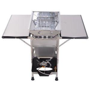 BARBECUE Barbecue à gaz ou à charbon 2 en 1 pliable 4 table