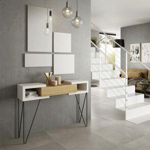 CONSOLE Console + miroir Bois blanc/Chêne blond - SOLDIA -