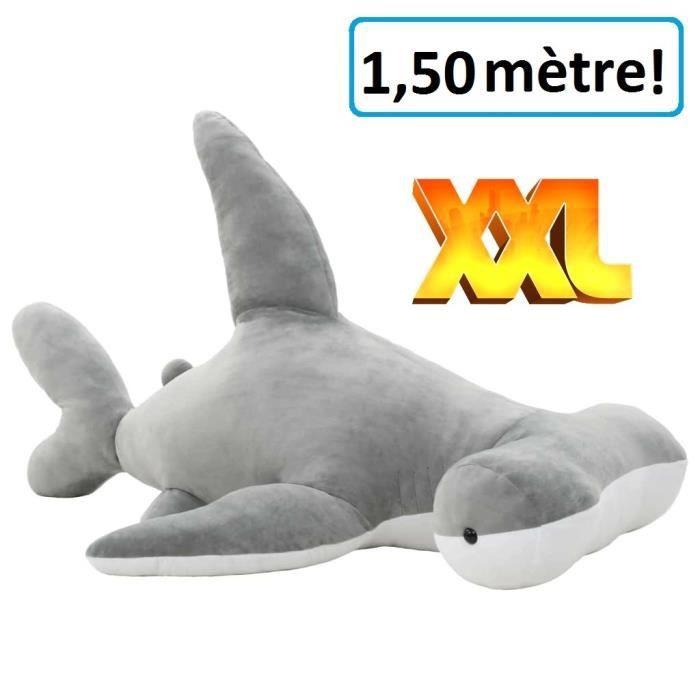 Requin marteau Géant 150 cm en peluche XXL gris doudou enfant adulte calin dormir décoration cadeau Jouet anniversaire noel fête
