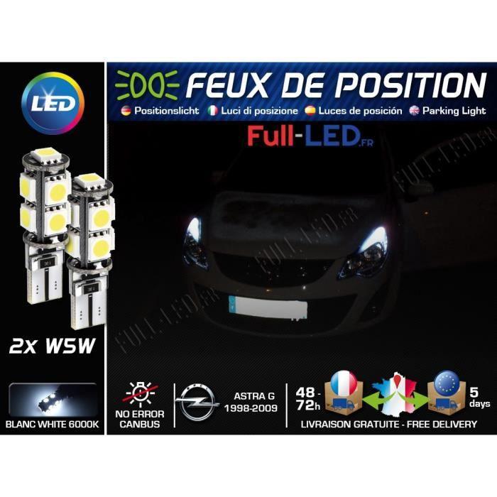 Ampoules Feux de position LED - Opel Astra G- W5W blanc Xénon
