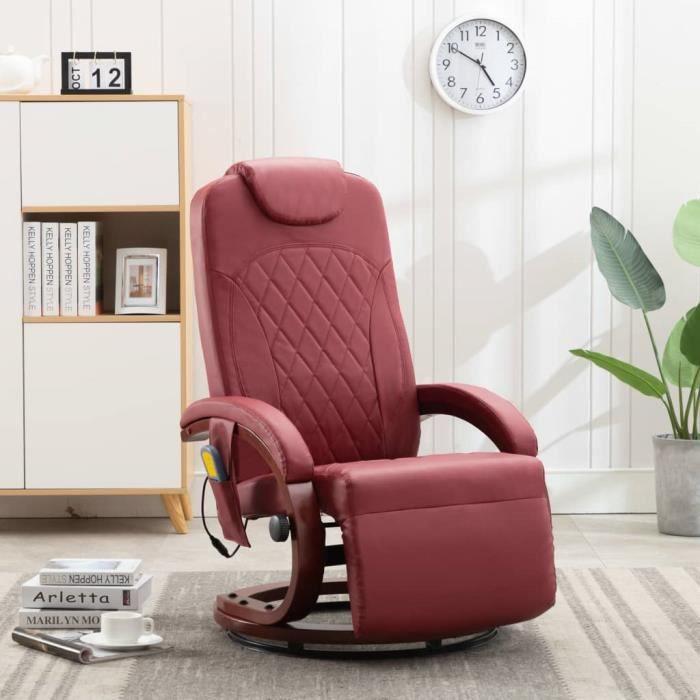 *49951 Fauteuil de relax TV - Fauteuil Chaises Relax Scandinave Chaises de Salon Rouge bordeaux - Similicuir
