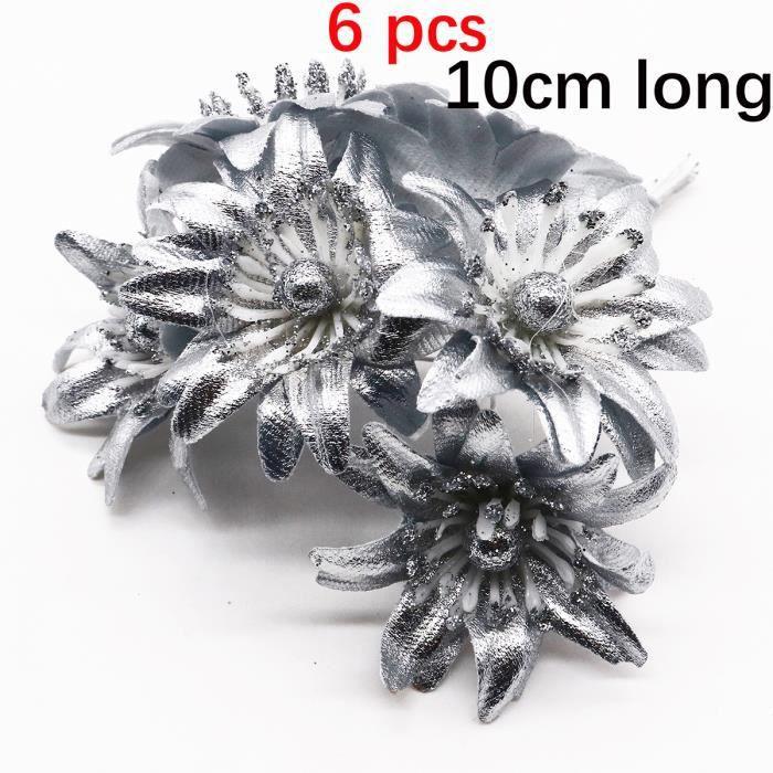 Lot de 6-10-12-20-24-200 pièces argent mixte fleurs hybrides, Perles en matrice de cerises, décoration de couronne - 17