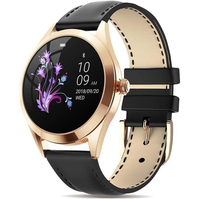 Montre Connectée Femmes, Etanche IP68, Podomètre, Fréquence Cardiaque, Suivi d'activité, Smartwatch Sport avec Bluetooth,