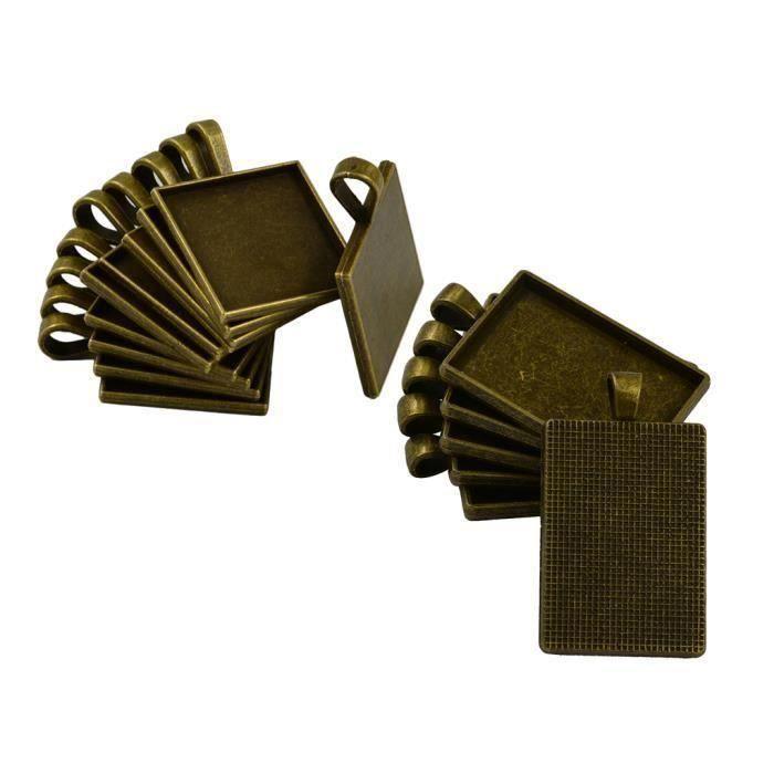 16pcs Supports Cabochons Forme Carré Rectangulaire Couleur Bronze Em71619