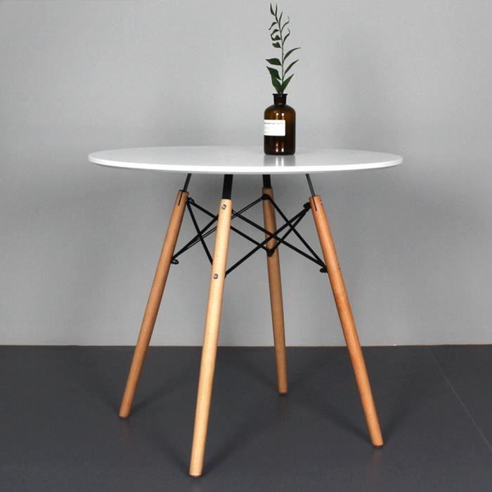 Table à Manger Ronde De Jardin Style Scandinave Blanc Laqué avec Pieds en Bois Massif - 70cm