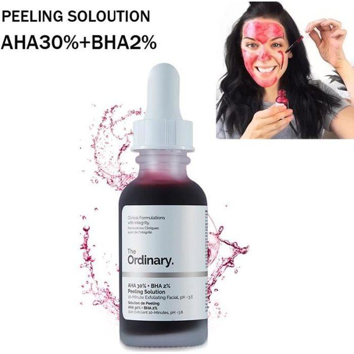 The ordinary exfoliant visage 10 minutes AHA Ordinaire 30% + BHA 2% Solution de Peeling 30ml sérum pour le visage Enlever L'acné
