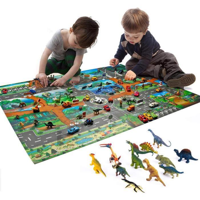 Tapis de Jeu pour Enfants Dinosaure Ultra Fin Tapis de Jeu en Plastique Activité Dino World 100×130cm avec 12 Jouets de Dinosaures