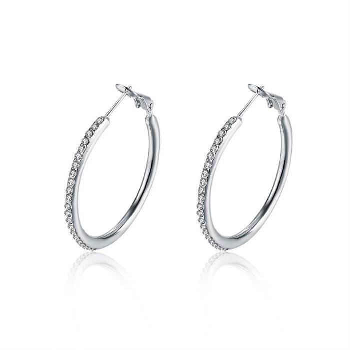 Fajewellery Boucles d oreilles créoles Swarovski Elements Cristal Grande Boucles d'oreilles pour Femme Taille 3.5cm