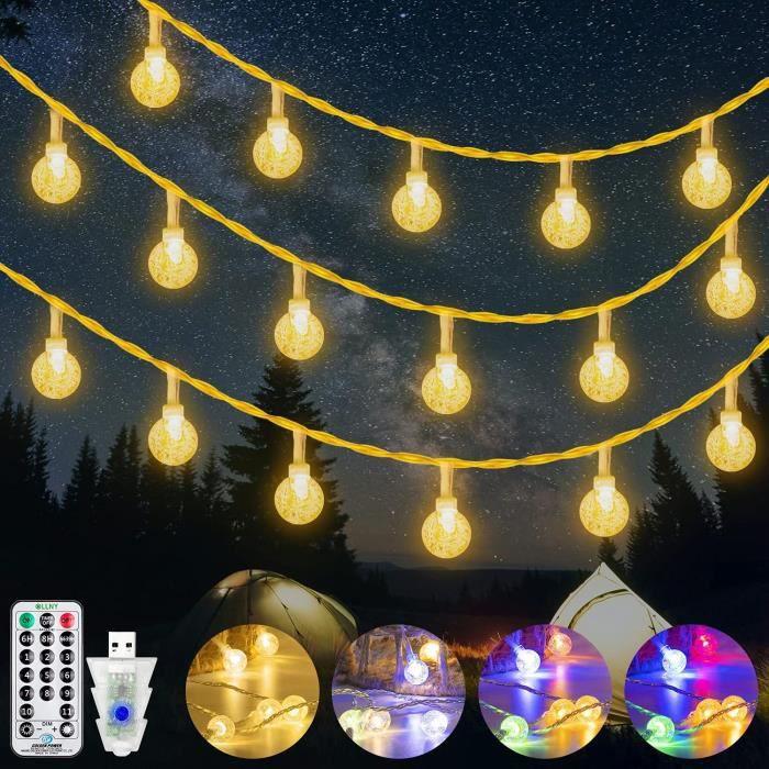 Guirlande Lumineuse Boules Extérieur et intérieurOllny 15M Guirlande Lumineuse LED ChambreBlanc Chaud et Multicolore avec 11 623