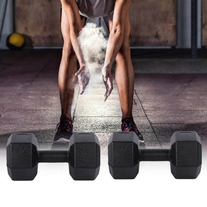 Lot de 2 Haltères Hexagonale chaque 5 kg Paire d'haltères Musculation Fitness HB014