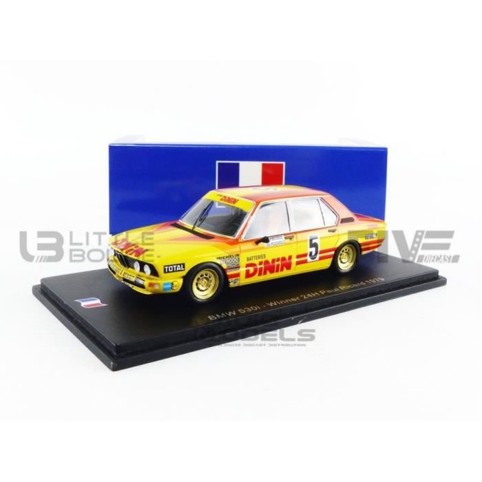 Voiture Miniature de Collection - SPARK 1/43 - BMW 530 - Winner Paul Ricard 1979 - Yellow / Red - SF007