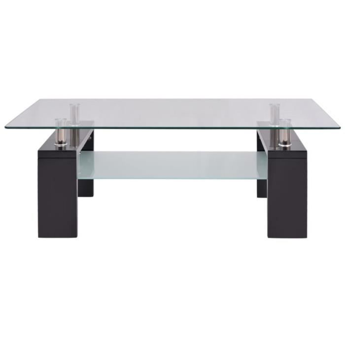oVsky Table Basse en Verre Trempé avec Finition Brillante Design Contemporain Noir et Transparent 110x60x40cm