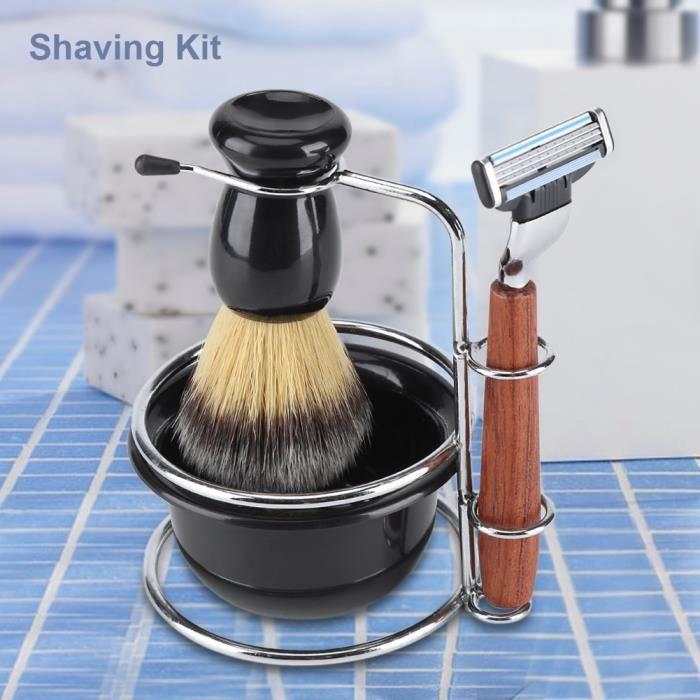 Kit de 4 pièces Rasoir Manuel Traditionnel de barbier ensemble pour Homme Professionnel Rasoir à main Coupe Chou Rasage HB050 -LAI