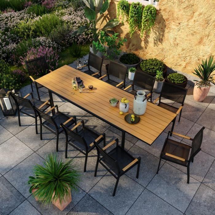 salon de jardin aluminium et bois