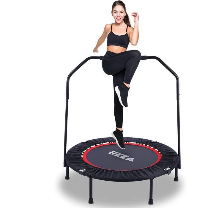Trampolines de Fitness Pliable Ø 40 Pouces, Trampoline d'exercice Exterieur/Interieur pour Adulte et Enfant, Maximale 150kg, Rouge