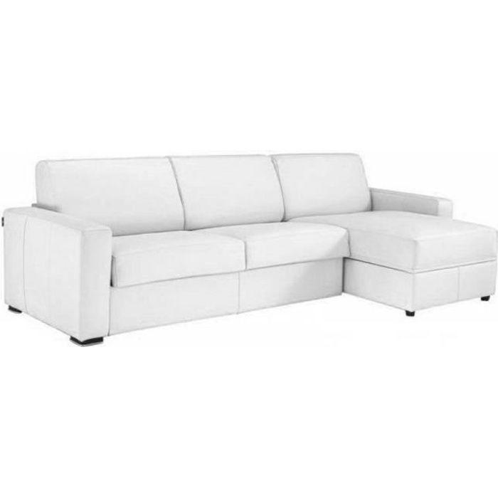 Canapé d'angle DREAMER convertible EXPRESS 160cm CUIR VACHETTE blanc matelas 16 cm blanc Cuir Inside75