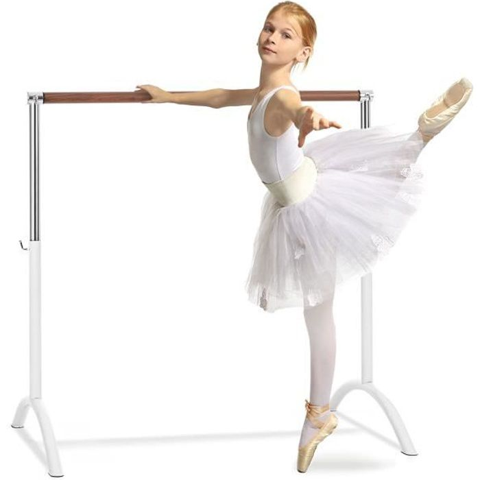 Klarfit Bar Lerina Barre de ballet autoportante Ø 38 mm - Hauteur réglable entre 70 et 113cm - Blanche