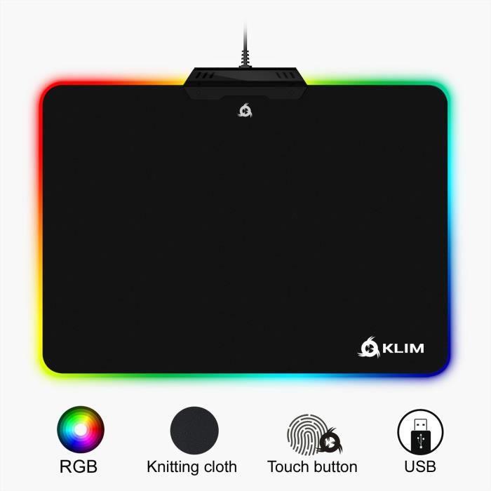 Klim Tapis de Souris Rgb Chroma Tissu Haute Précision Effets de Lumière Plusieurs Modes Gaming Gamer Jeux Vidéo Usb Rét