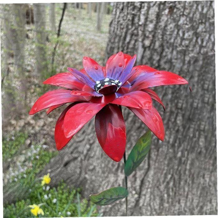 Métal Fleur Stakes Jardin Hémérocalle Ornements Art floral Artisanat décor pour pelouse rouge fonctionnelle