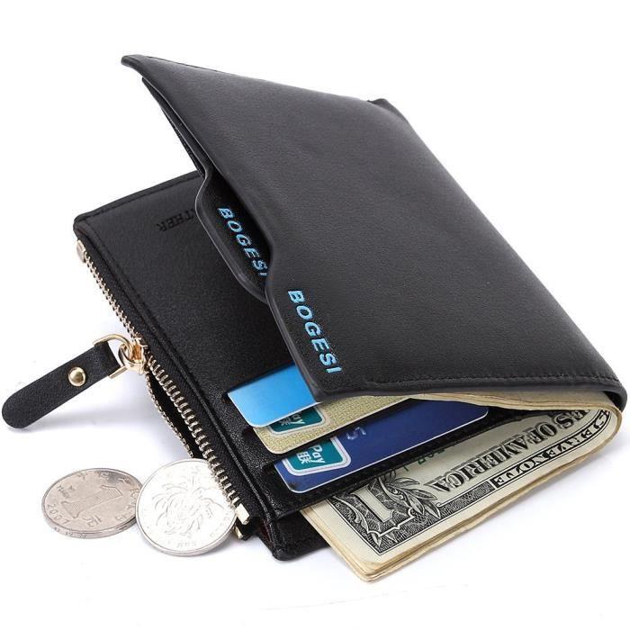 Noir Portefeuille pour homme en PU cuir Porte monnaie avec poche à monnaie et porte-carte amovible compartiment à fermeture