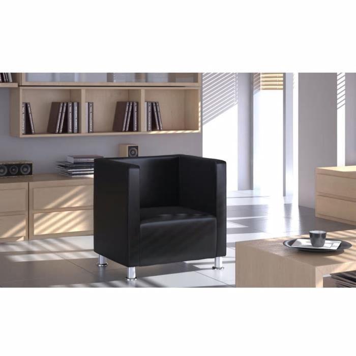 Fauteuil Design de cube Cuir synthétique Noir Fauteuil de bureau Fauteuil gamer Fauteuil Scandinave