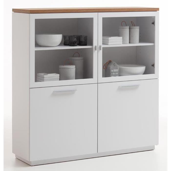 Buffet design coloris blanc brillant-chêne ancien - L136 x H138 x P40 cm