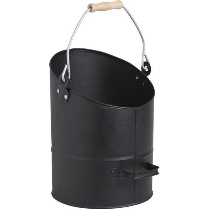 Seau à cendres en métal coloris noir - Dim : Ø 26 x h 36-50 cm