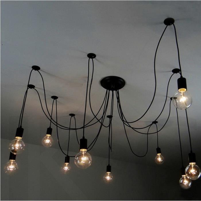 Rétro Noir Lustre Plafonnier Industrielle DIY Créatif Araignée Suspension Filaire avec 10 douilles(pas d'ampoule)