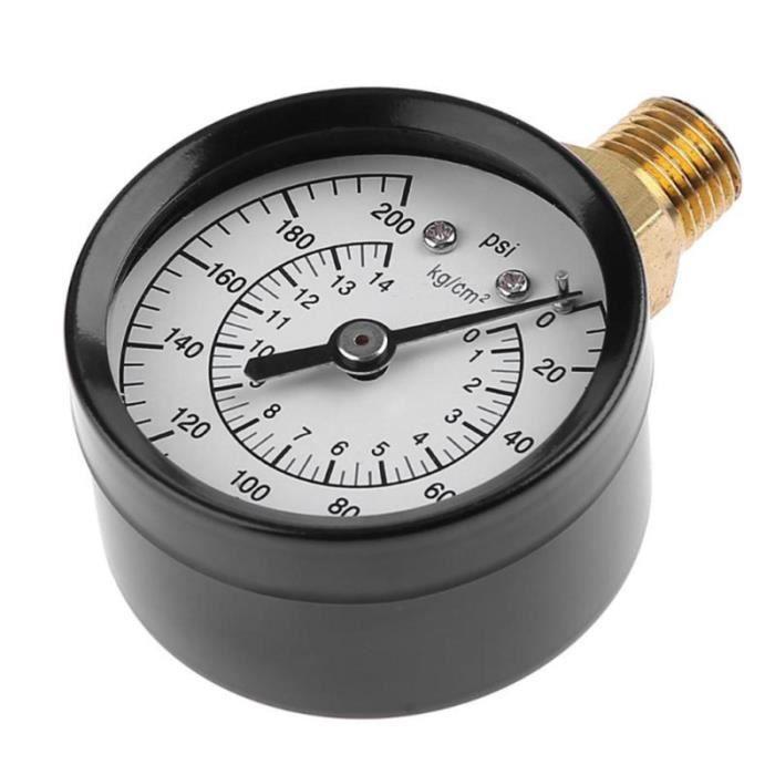 1 PC 0-200 PSI 0-14 kg / cm2 métal tout usage manomètre à vide à double échelle pour compresseur d'air à gaz eau huile MANOMETRE