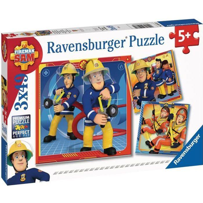 SAM LE POMPIER Puzzles 3x49 pièces - Notre héros Sam le pompier - Ravensburger - Lot de puzzles enfant - Dès 5 ans