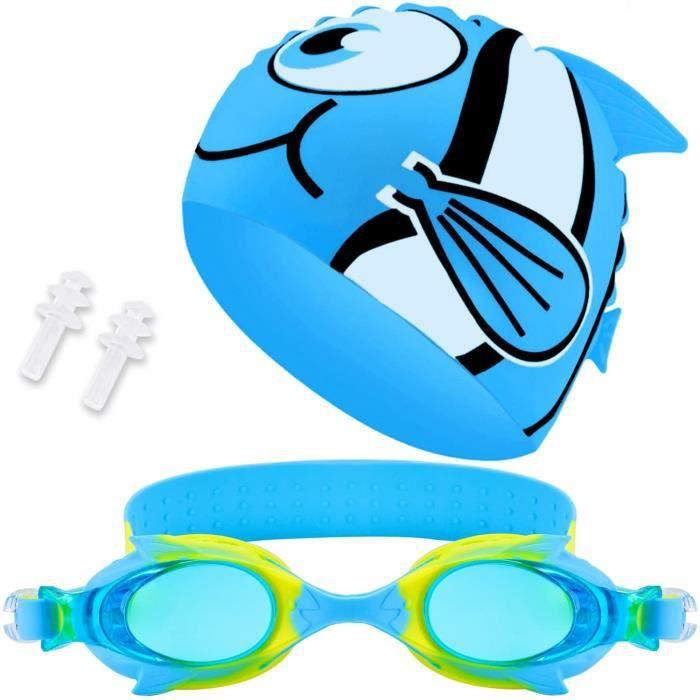 Bonnet de Bain Enfant Bonnet de Bain et lunettes Enfant Lunettes de Natation étanche@Z17423
